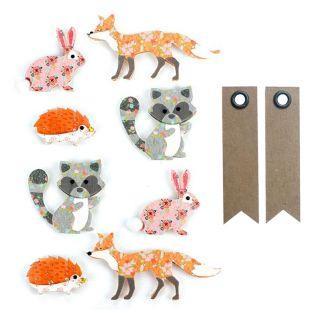 8 pegatinas 3D - Animales del bosque....