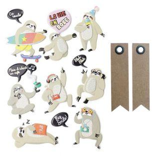 15 3D stickers - Sloth + 20 pennant...
