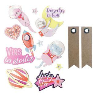 10 3D stickers - Galaxy + 20 pennant...
