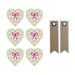 3D Stickers 4 cm - Diamond heart on...