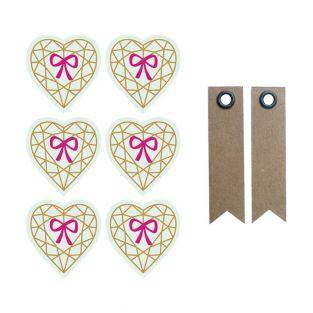 Pegatinas 3D 4 cm - corazón diamante...