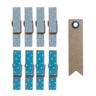 8 mini Pinzas de madera magnéticas...