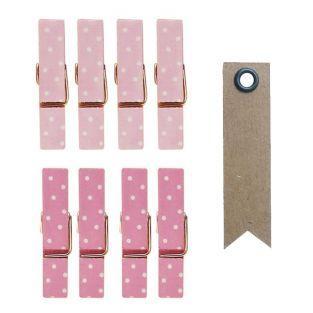8 mini pinces à linge aimantées rose...