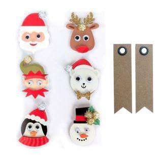 6 stickers 3D Personnages de Noël +...