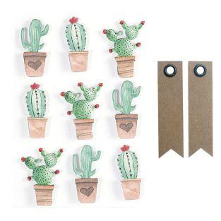 3D stickers x 9 - Mexican cactus 4,5...