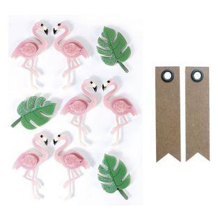 9 Aufkleber 3D - Flamingos 5,5 cm +...