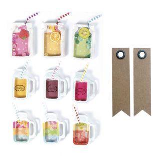 9 pegatinas 3D - Bebidas jarras de...