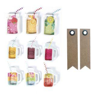 9 stickers 3D Boissons mason jars 5...
