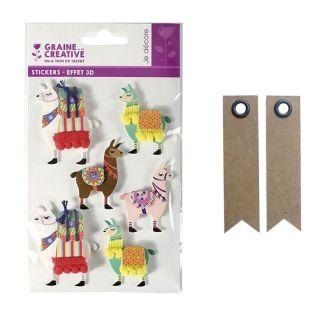6 stickers 3D Lama 6 cm + 20...