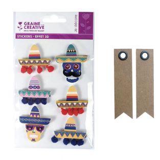 6 Aufkleber 3D - Mexikanische Hüte...