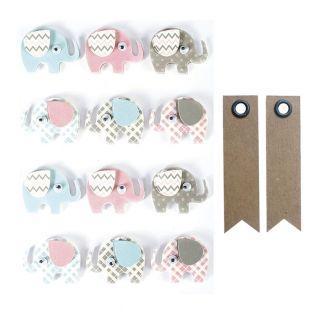 12 stickers 3D Elephants 4,3 cm + 20...