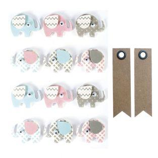 3D stickers x 12 - Elephants 4,3 cm +...