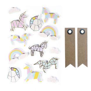 13 stickers 3D Licornes 5 cm + 20...