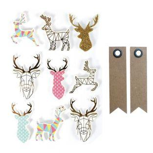 3D stickers x 9 - Christmas reindeer...