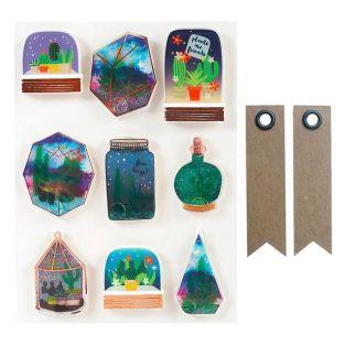 9 stickers 3D Succulentes en bocal +...