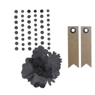 Perlas adhesivas y flores de papel -...