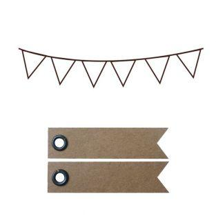 Wooden stamp - Pennants 7.2 x 3.2 cm...