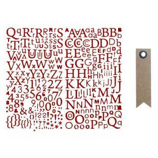 Glitter-Red Alphabet sticker + 20...