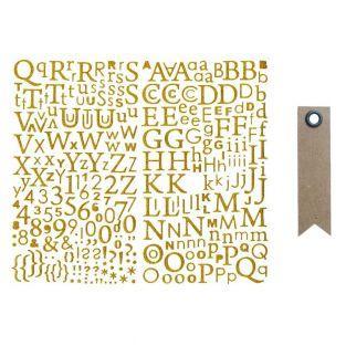 Goldene Glitzeraufkleber - Alphabet +...