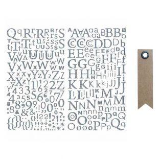 Glitter-Silver Alphabet sticker + 20...