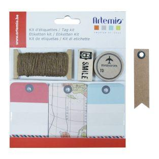 Travel Label Kit + 20 pennant kraft...