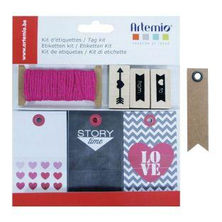 Etiketten-Set - Love + 20 Wimpel...