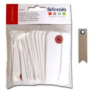 Ettiketten mit Metallfaden - Weiß +...