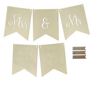 Bandiere di nozze in legno - Mrs & Mr...