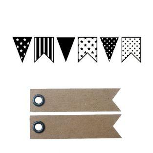 Wood stamp - Pennants + 20 pennant...