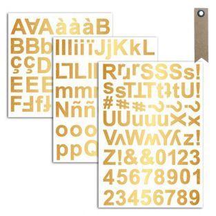 165 Golden alphabet aufkleber + 20...