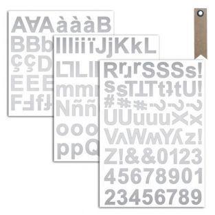 165 pegatinas alfabeto plateado + 20...