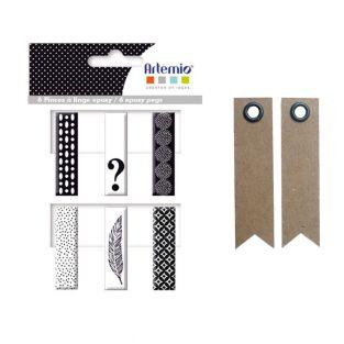 6 Epoxy clothespins - black & white +...