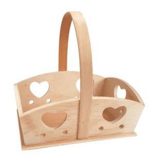 Cesta de madera con corazones 20 x 15...