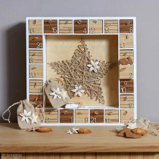 Wood square Advent calendar 39 x 39 cm