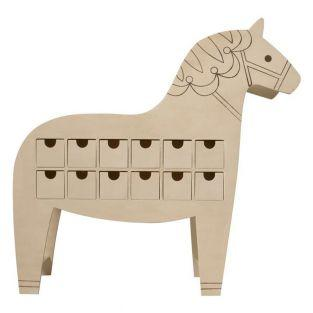 Wood Horse Advent Calendar 48 x 47 cm