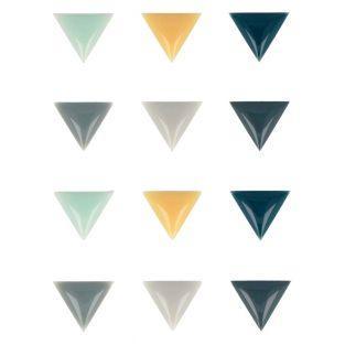 12 pegatinas epoxi triángulos - Woodland