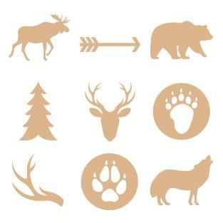 27 mini siluetas de madera - Animales...