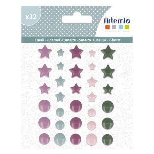 Epoxy stickers circles and stars -...