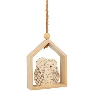 Suspension bois maison 15 x 12 cm -...
