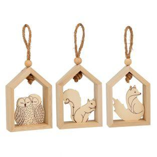 3 wooden hanging houses 15 x 12 cm -...