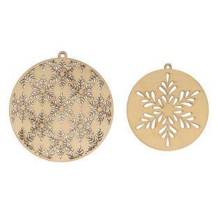 2 round wooden medallions Ø 10 cm &...