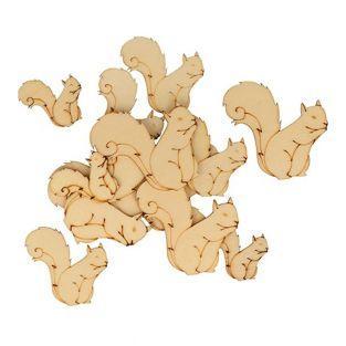30 mini silhouettes en bois - Ecureuil