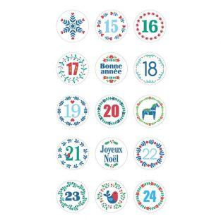 Round stickers for Advent Calendar Folk