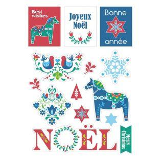 33 stickers de Noël cartonnés - Folk