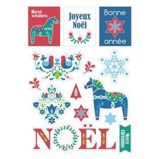 33 stickers de Noël cartonnés - Folk