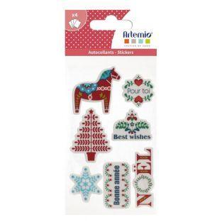 28 stickers de Noël rouge-vert-bleu -...