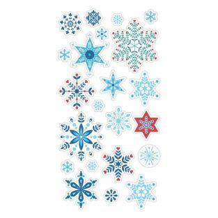 22 Puffy Aufkleber Schneeflocken - Folk