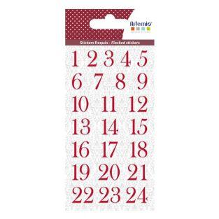 Flocked red number stickers for...