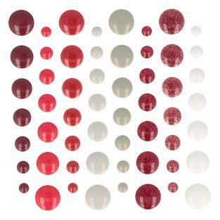 64 red enamel adhesive beads - Barok