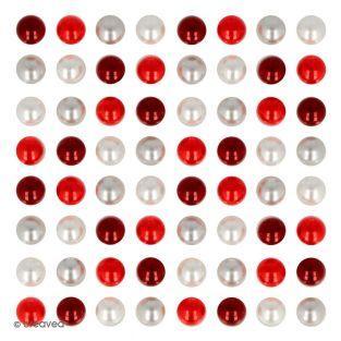 64 perles adhésives rouges et...